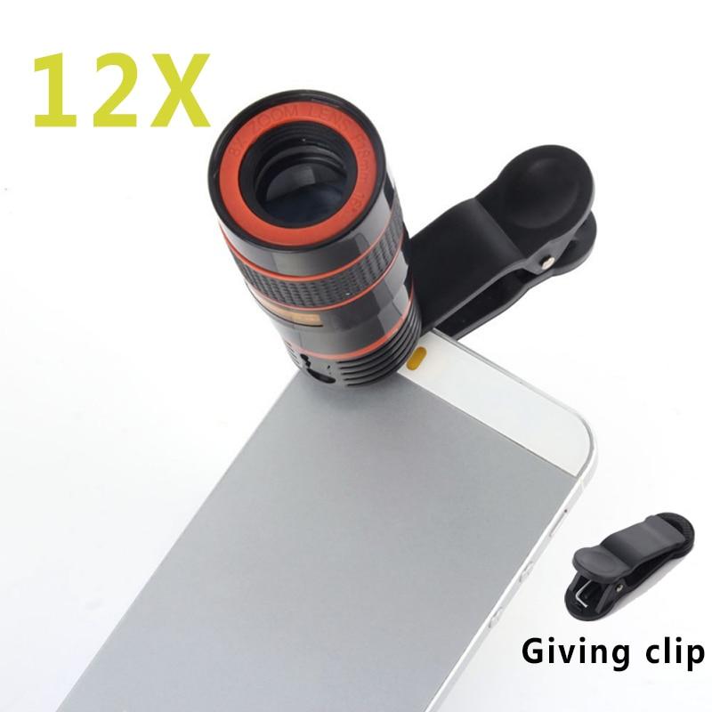 Universal Clip 12X Zoom Mobile Phone Telescope Lens Telepo