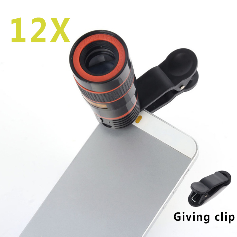 Universal Clip 12X Zoom Mobile Phone Telescope Lens Telepo External Smartphone Camera Lens for iPhone For Sumsung iPhone image