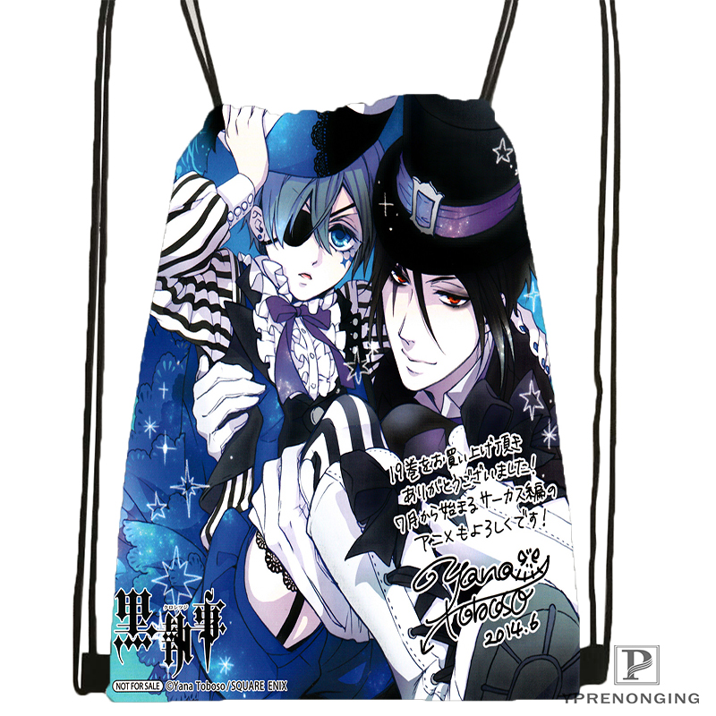 Custom Black Butler Anime Drawstring Backpack Bag Cute Daypack Kids Satchel Black Back 31x40cm 180531 02