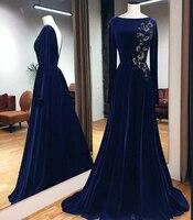 Королевского синего цвета Вечерние платья Длинные 2019 элегантное платье с вырезом лодочка V Назад бисерный халат de soiree бархат длинный рукав