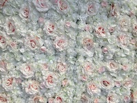8ft x 8ft Wedding Flower Wall White with lovely Pink Rose & Hydrangeas flower backdrop wedding stage decoration