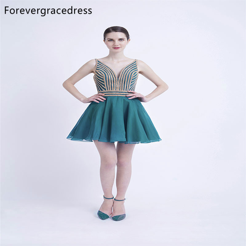 Forevergracedress Fit And Flare Short Cocktail Dresses A Line Chiffon Backless Girls Party Gowns Plus Size Custom Made