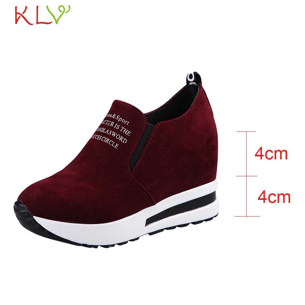 0c587dce8672 Wedges Platform Shoes For Women Sneakers Sport Slip Pumps Flock Round Toe  Breathable Sapato Heels Feminino