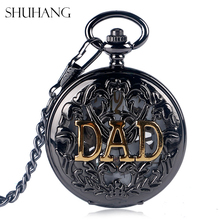 SHUHANG Steampunk Hollow DAD Vintage Black Mechanical Watches Father Mens Pocket Watch with Chain Father's Day Birthday Gifts