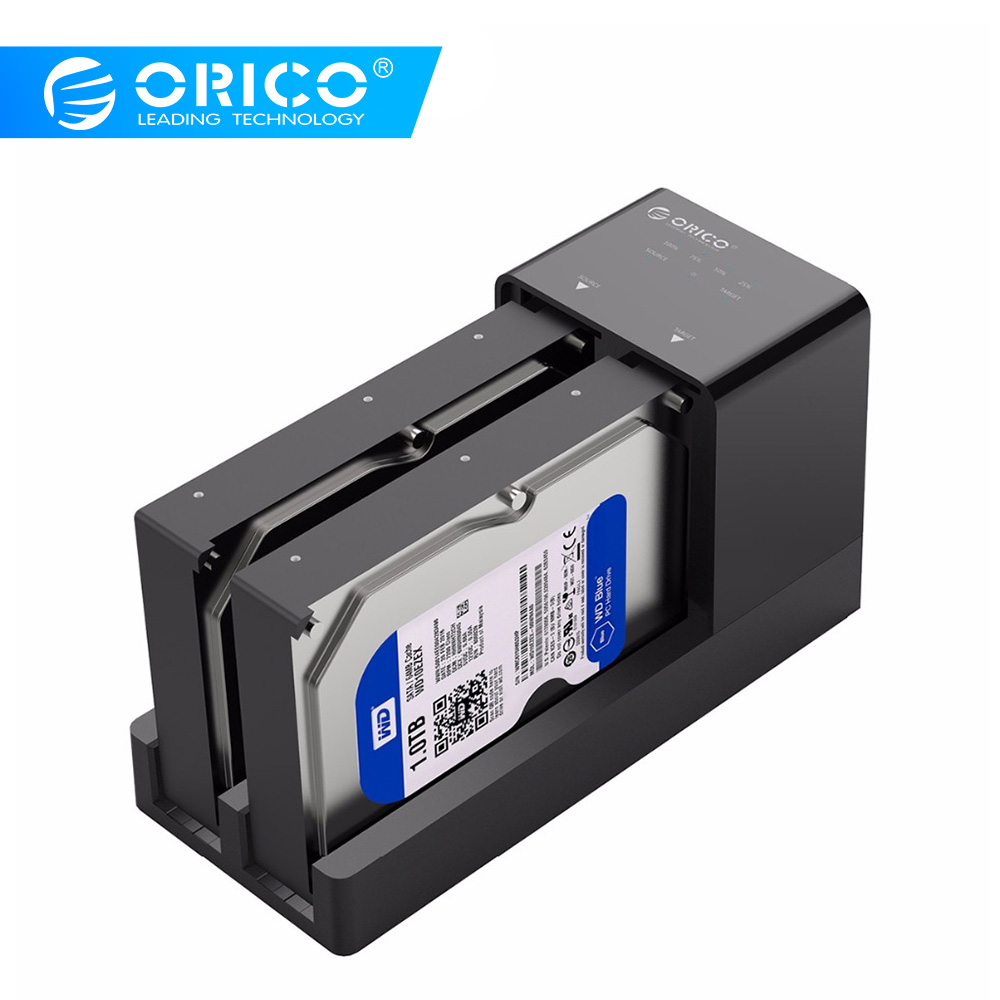 ORICO 2.5/3.5 Inch SATA Hard Drive Enclosure With Clone Function Support 20TB Max Clone Docking Station With 12V Power Adapter