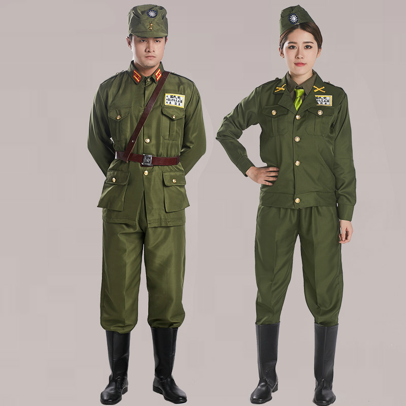 Ancient Republic Of China Military Uniform Men Women Officers American Style Military Clothes Film TV Stage Costume Cosplay