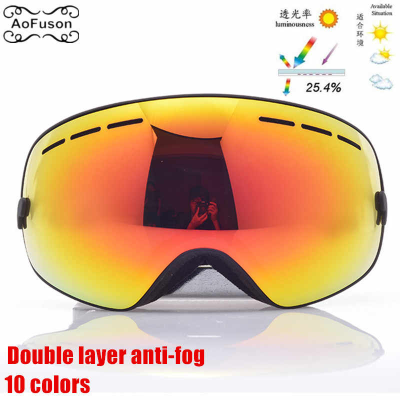 b258128f1d Ski Snowboard Goggles . Snow Double Layers Anti-fog Lens Photochromic Big  Spherical Mask Glasses