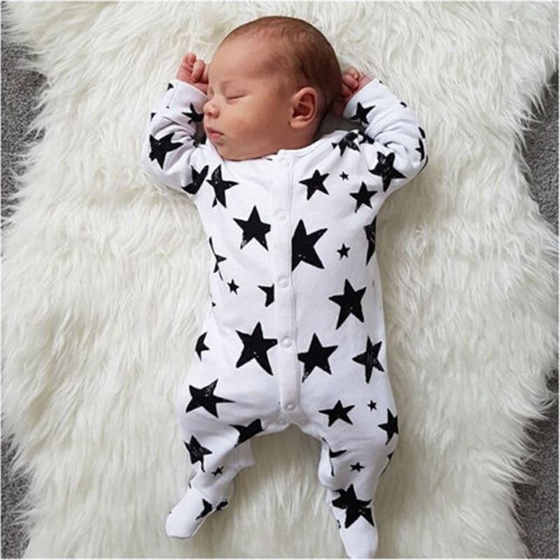 Autumn Winter Cotton Warm Romper For Baby Boy Clothes Girl Jumpsuit Newborn Baby Clothes Stars Infant Boy Onesie