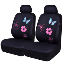 купить Car Seat Covers 2 Front Seat Mesh Fabric Pink Purple Blue Auto Car Accessories for Girls Universal Car Seat Covers for Ford Lada дешево