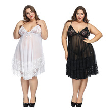 Plus size 6xl lingerie sleepwear White Night Gown Lingerie Ladies Sexy Lace Babydolls Sleepwear womens erotic sling Homewear
