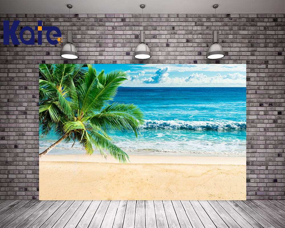 KATE 10ft Photography Backdrops Beach Background Scenery Sea Wedding Backdrop Blue Sea and White Cloud Coconut Tree Backgrounds bim and the cloud