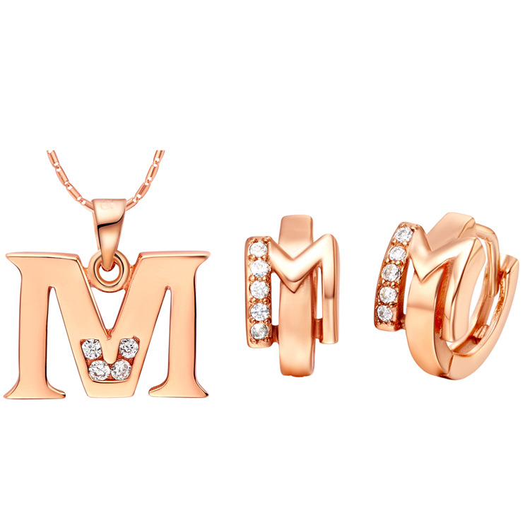 Extravagant currency in England of the earring jewelry of the chemisette necklace letter set two kinds of color Pendant Earring