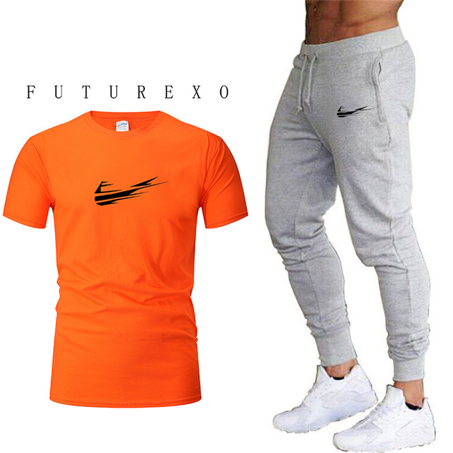 Summer Hot Sale Men's Sets T Shirts+pants Two Pieces Sets Casual Tracksuit Male 2019 Casual Tshirt Gyms Fitness trousers men