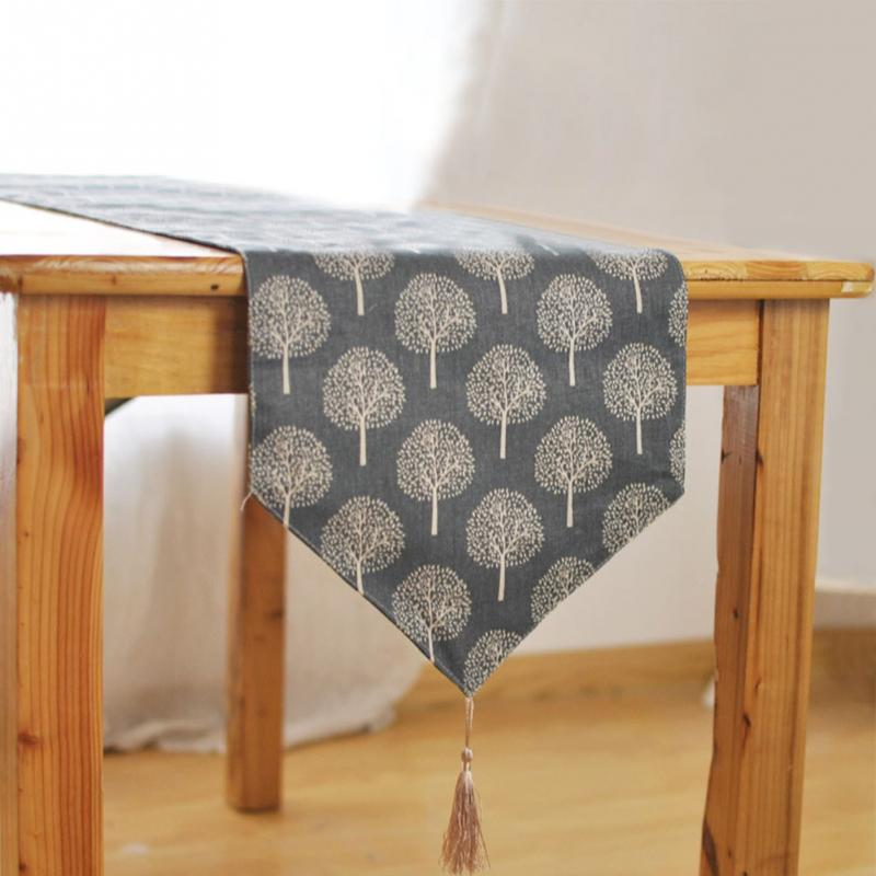 Image 3 - 33cm*160/180/200/220/240cm 5Size Table runner Modern Tree pattern Chirstmas party wedding Decor crafts Linen cotton Table Runner-in Table Runners from Home & Garden
