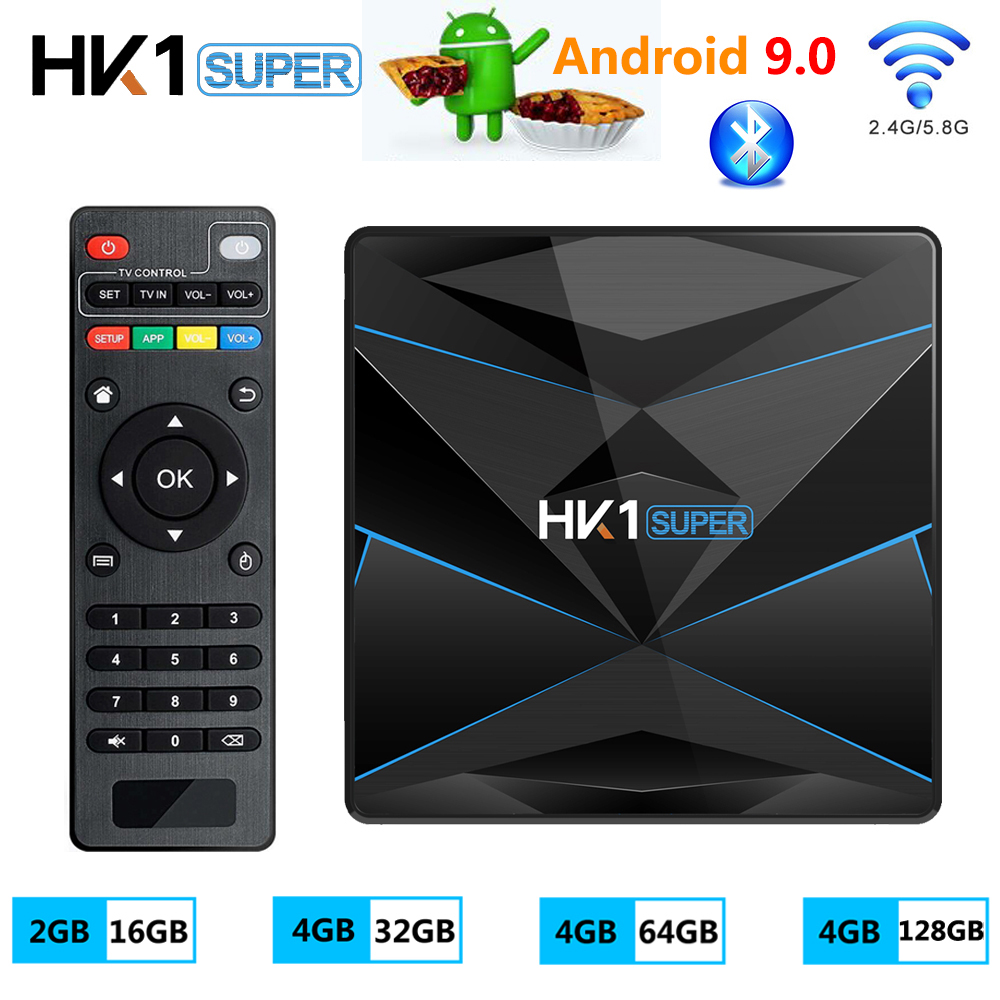 HK1 SUPER Android 9.0 TV Box 4GB RAM 128GB ROM RK3318 Media Player 2.4G 5G WiFi Bluetooth 4.0 4K HD Smart Set Top Box Vs H96 MAX