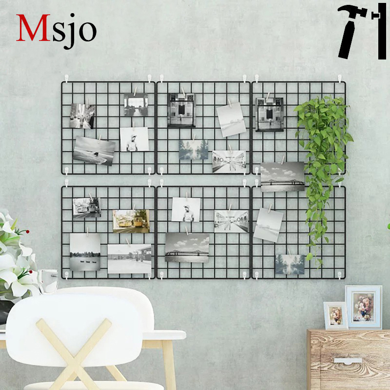 Msjo INS Hot Iron Metal Mesh Storage Rack DIY Rist Vägg Bilder - Hemlagring och organisation
