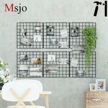 Msjo INS Hot Iron Metal Mesh Storage Rack DIY Grid Wall Foto Gambar Gambar Postcard Holder Storage Shelf Home Bedroom Decorative