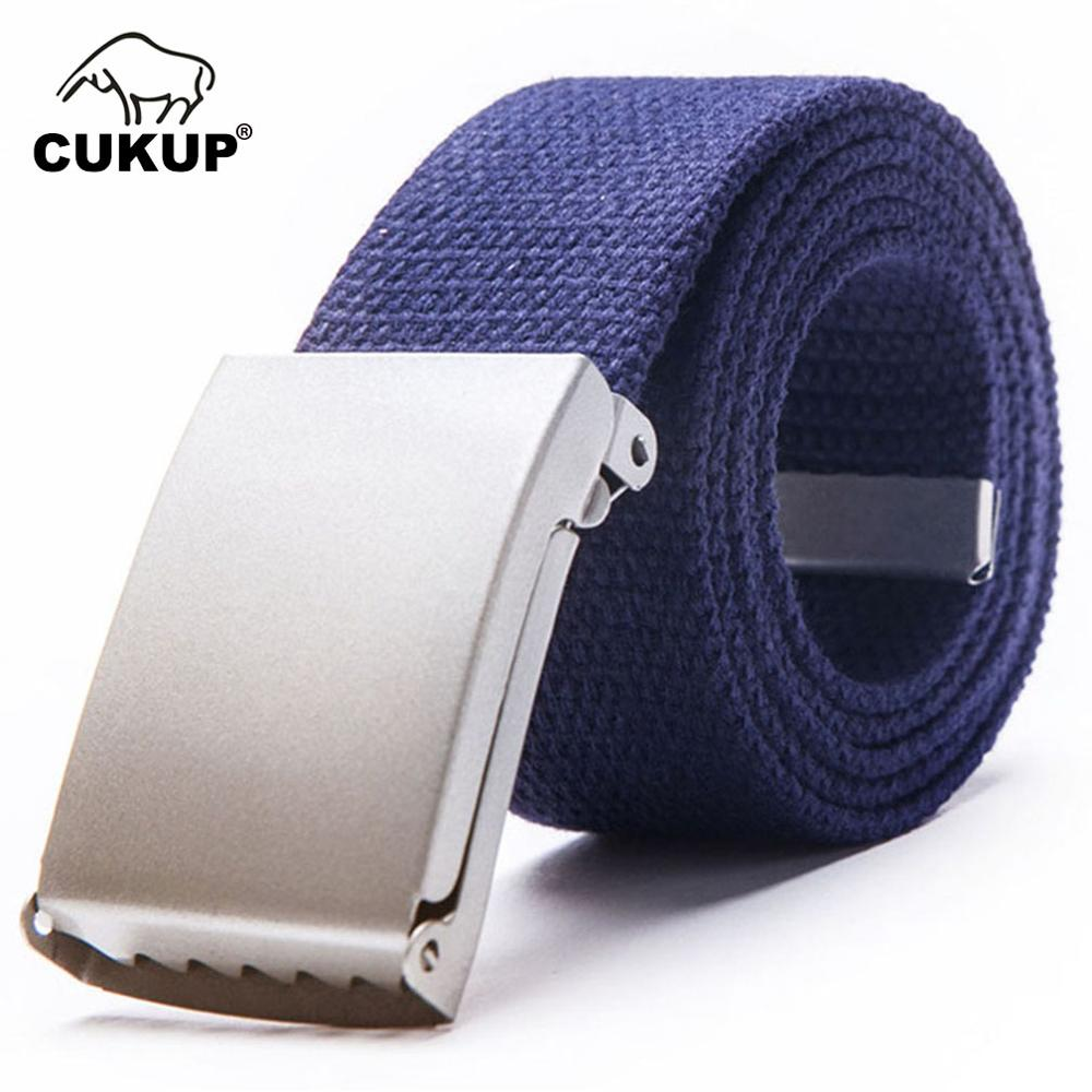 CUKUP Fashion Unisex Designer Automatic Buckle Metal Quality Canvas Belt Jeans Accessories for Men Many Colours Optional CBCK018 in Men 39 s Belts from Apparel Accessories