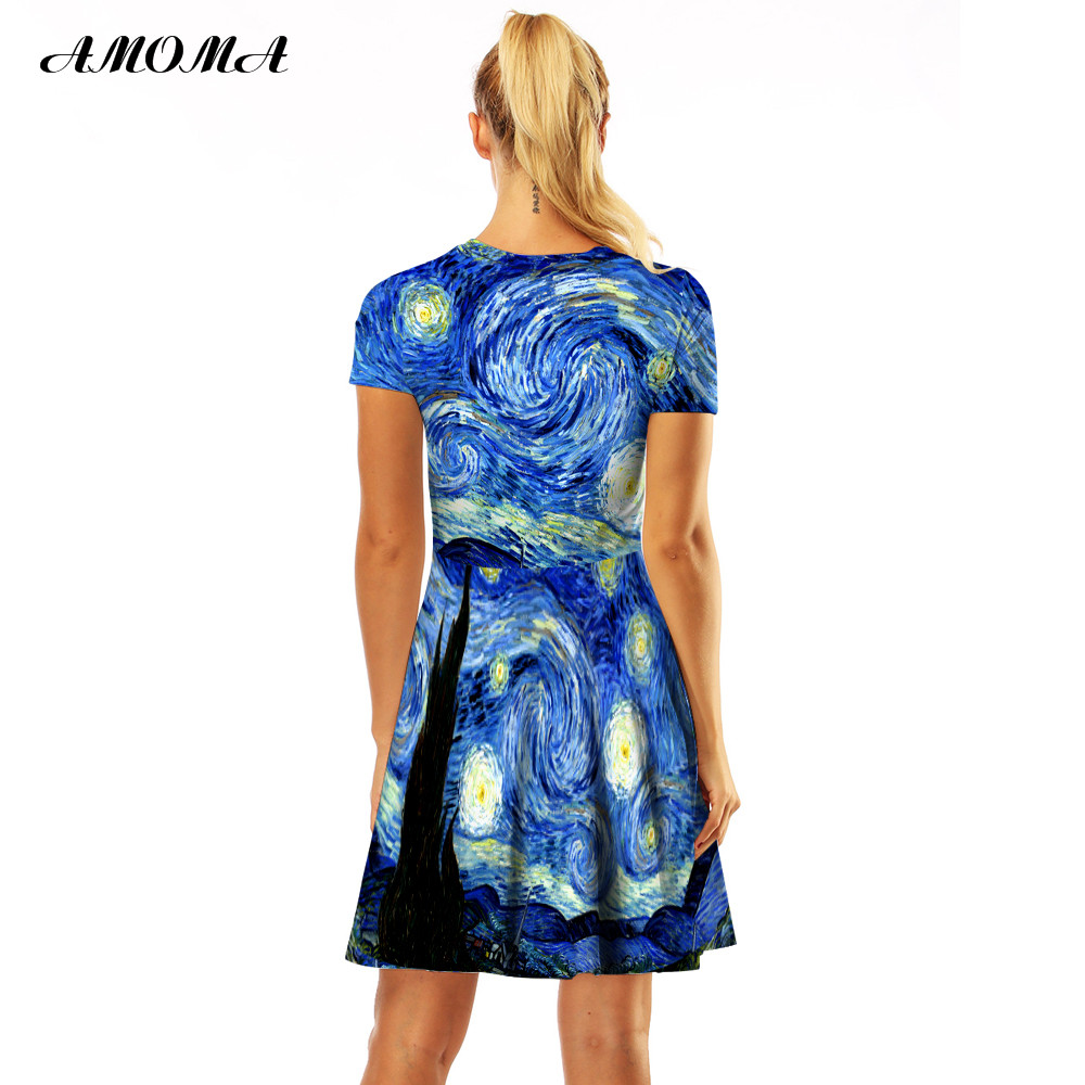 AMOMA Women Slim Fit Van Gogh Starry Night Print Vintage Dress Short Sleeve  Casual Summer A Line Midi Dress-in Dresses from Women s Clothing on ... 24f86f2f8e91