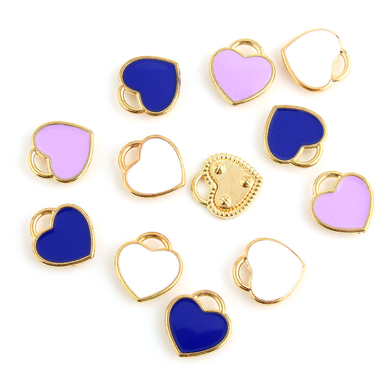10 Stücke Herzform Charme Anhänger Goldfarbe Legierung Perlen Weiche Farbe Emaille Schmuck Finding 11x12mm