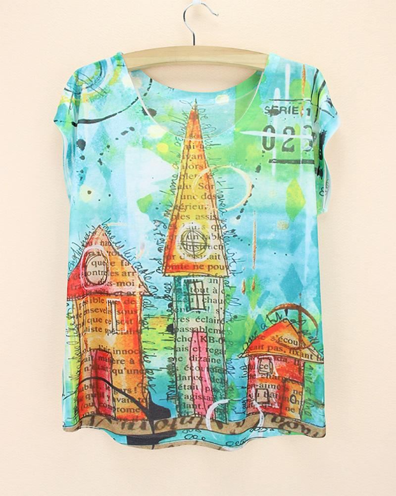 Design t shirts to sell - Best Sell New 2015 Summer Tee Women Fantasy Castle Print Tshirt Girls Novelty Design T Shirt Western Ladies Casual Tops Tees