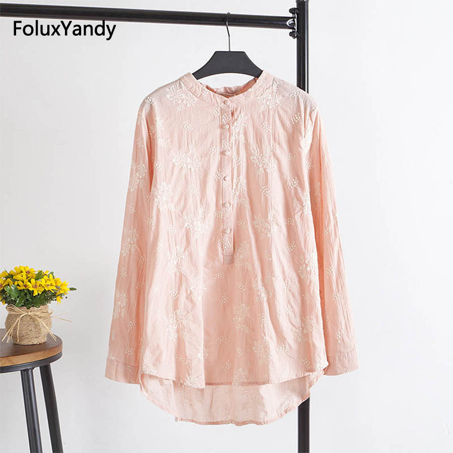 Brand New Embroidery Women Long   Blouse     Shirt   Casual O-neck Plus Size 3 XL Loose Cotton   Blouse   Pink Green White KK1312