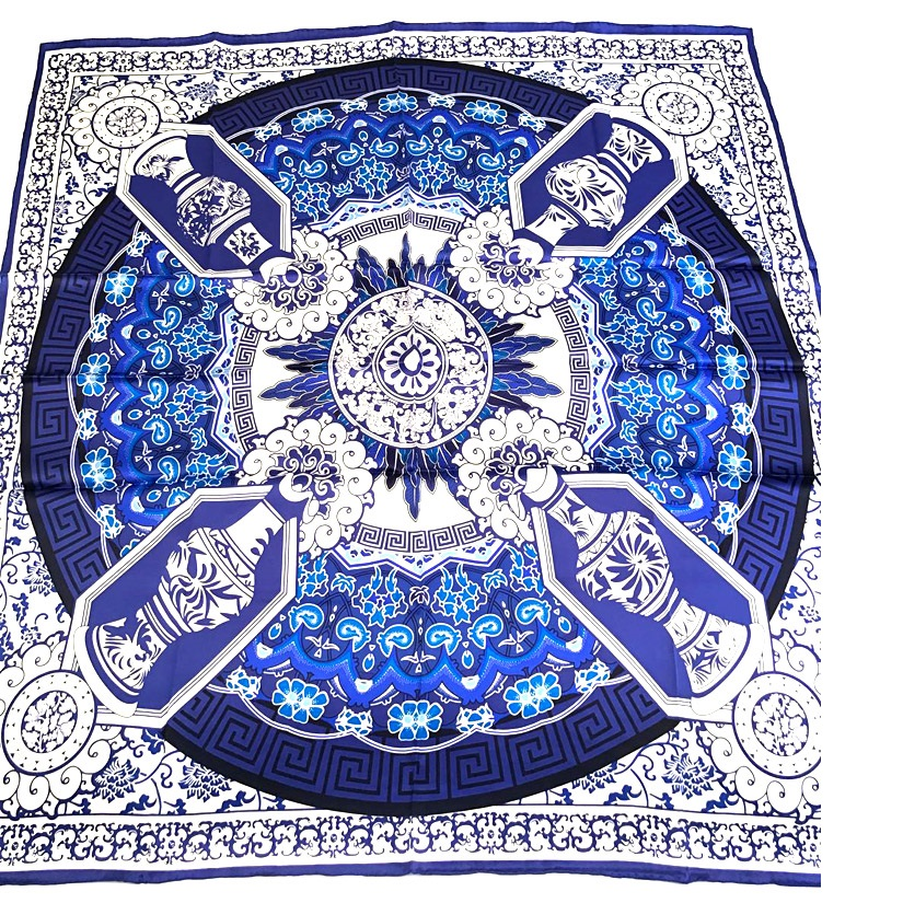 Blue White Large Square 100% Satin Silk   Scarf     Wraps   Shawl Foulard Thicken High Quality Hand Rolled Edges