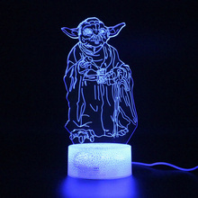Kids Led lamp RGB 3d Yoda Master Remote Control Table Lamp Party Decoration Night Light Illusion Projection Light цена и фото