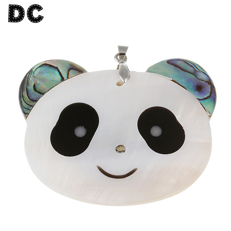DC 1PC Cute Animal Penda Shell Charms Pendants 52*52mm for Jewelry Making Findings Fashion Necklace Collar DIY Components F1163 ...