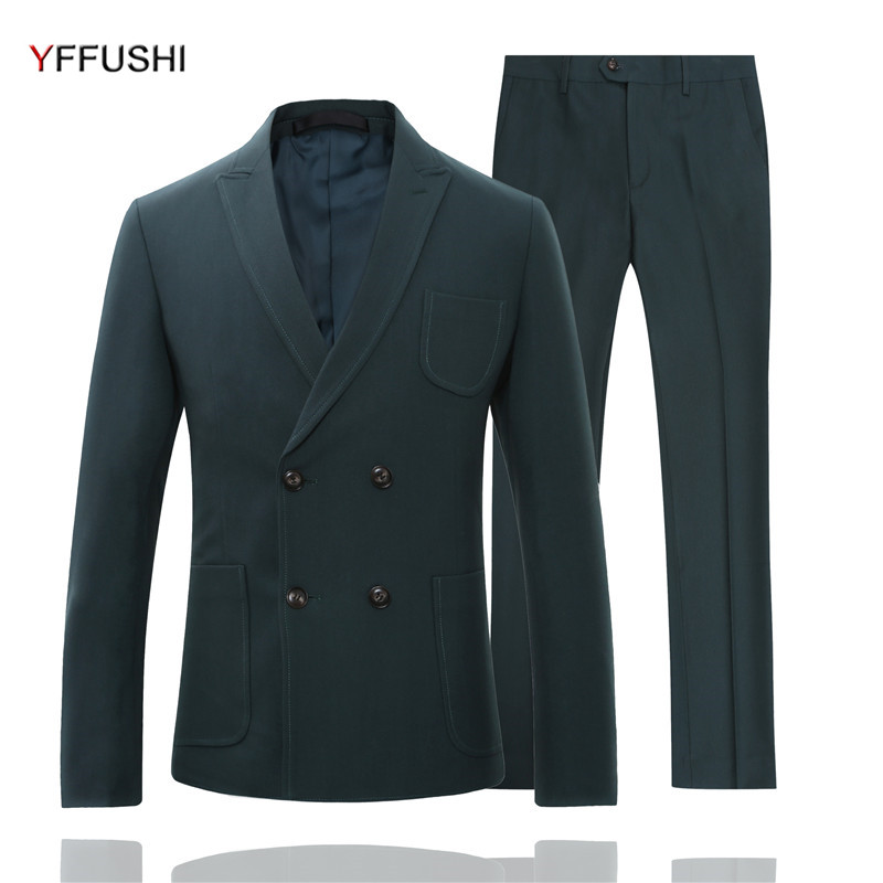 YFFUSHI 2018 Fashion Men Suit 2 Pieces Double Breasted Green Khaiki Black Yellow Suit Coats England Slim Fit Casual Style green casual lace beaded suit