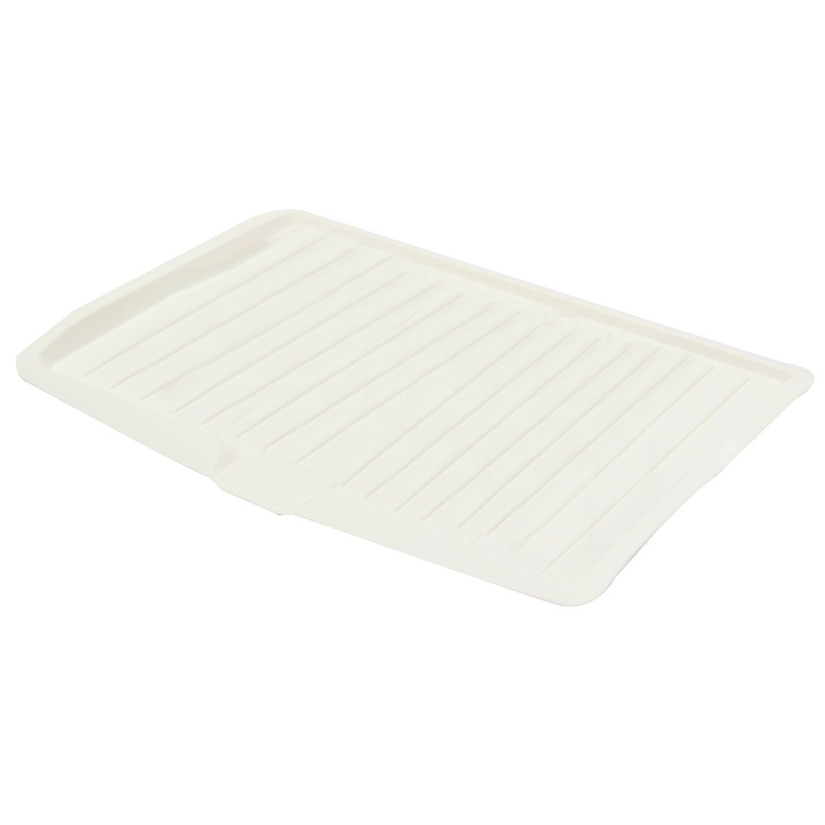 PHFU Plastic Dish Drainer Drip Tray Plate Cutlery Rack Kitchen Sink Rack  Holder Large White