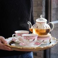 Fashion Bluebird Flower Tea Teaware Sets With Base Bone China Heat Resistant Glass Teapot Chinese Wedding Tea Set Gift Box Pack