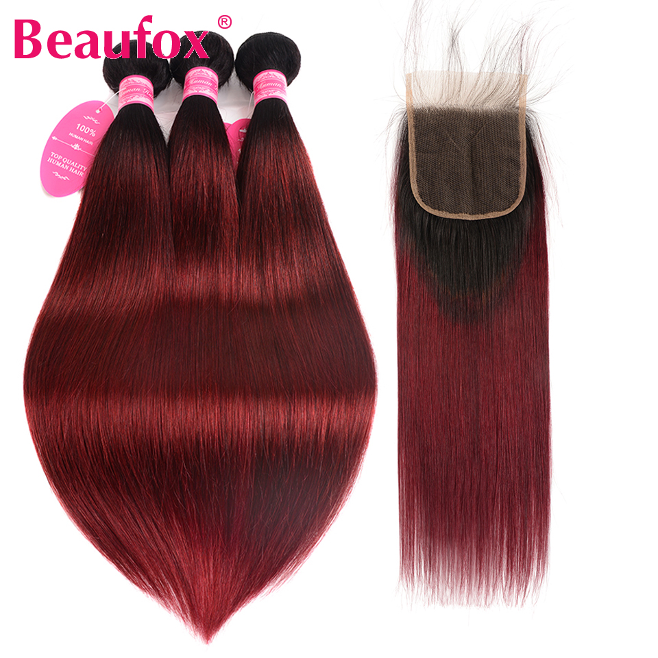 Beaufox Ombre Hair Bundles With Closure 1B/99J Burgundy Red Ombre Peruvian Straight Hair 3 Bundles With Closure Non Remy ...