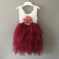 1 10yrs flower girls sleeveless long lace dress teenager girls backless princess birthday tulle dress little girls Xmas dress