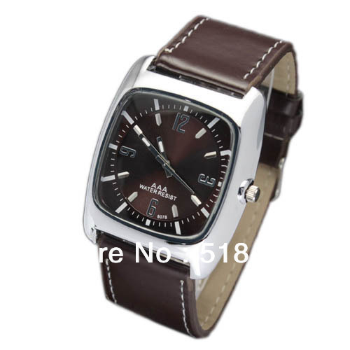 48d525e3eed New Free Shipping10 Pcs Square Brown Face And Brown Band Men Quartz Wrist  Watches Leather Watch-in Quartz Watches from Watches on Aliexpress.com