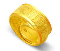 Pure 999 24K Yellow Gold Ring / Men&Women Bless Ring / 16g Us Size 4 12