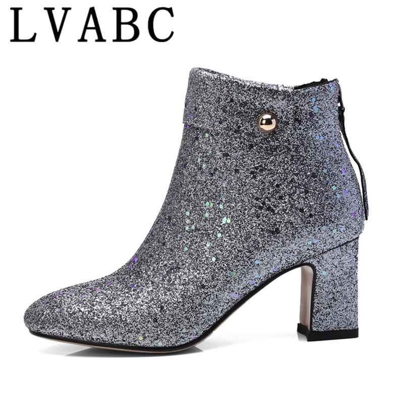 475395d942ef98 Noir Classique Bottes dark Brown 2018 Chaussures 2019 silver Cheville De  Pour Dames Feminina Black Bota Épais Talons ...
