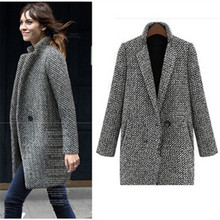 2016fall and winter clothes new arrival European and American high-end women's Slim Woolen Outerwear  Fashion Plaid Overcoat