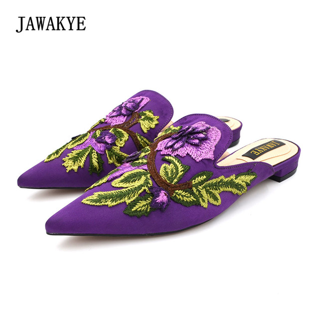 2018 New Embroidered Flower Purple Flat Slipper Mules shoes Summer fashion outdoor  Silk Velvet Slipper shoes Women JAWAKYE 99cb6be00d5a