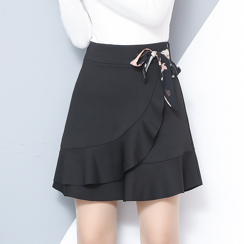 2019 Spring&summer Women A Line Skirt Korean Fashion Slim Sexy Ruffles Bow Stretch High Waist Skirt Plus Size Black Mini Skirts