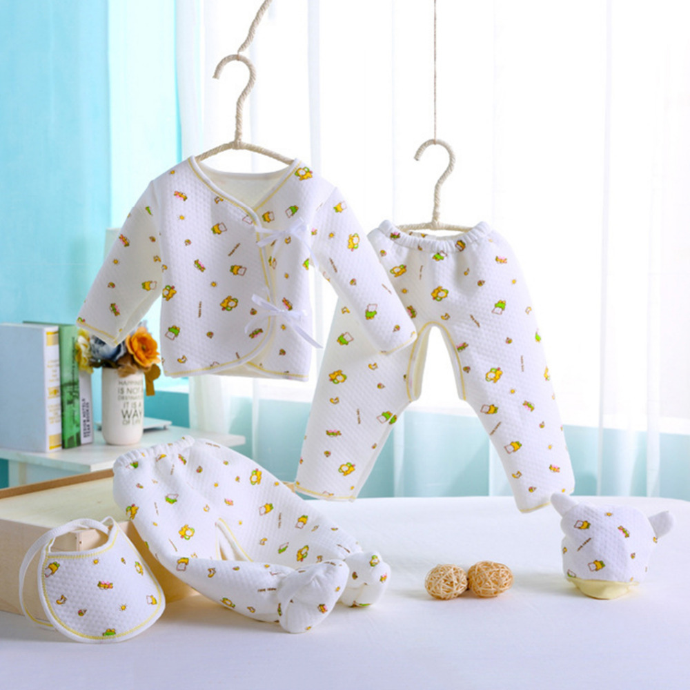 Comfortable Spring Fall Newborn Baby Clothing 5Pcs/Set Underwear Clothes Outfit Suit Cotton Cute Cartoon Pattern For 0-3M Infant newborn baby boy girl 5 pcs clothing set cotton cartoon monk tops pants bib hats infant clothes 0 3 months hight quality