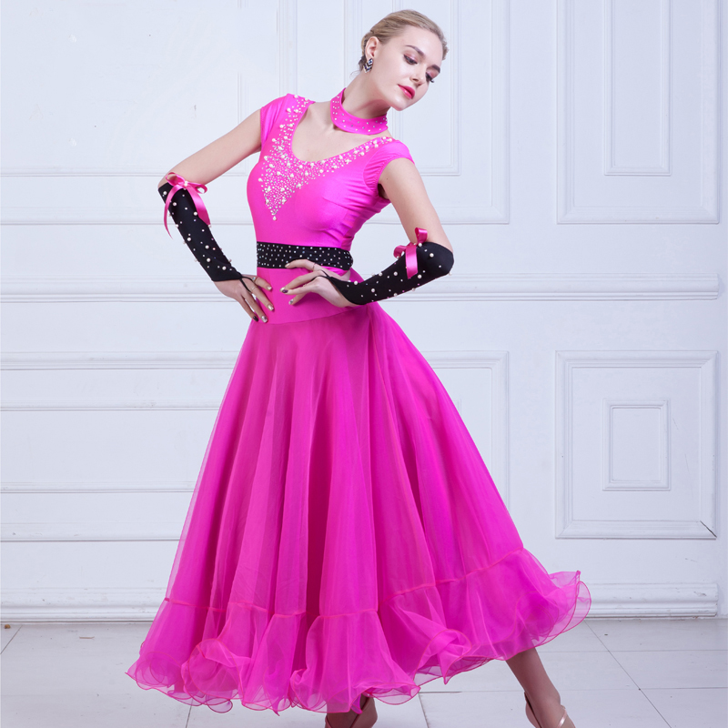 New Standard Ballroom Dance Dress Modern Short Sleeved Pearl Waltz Dress Competition Performance Wear Stage Show