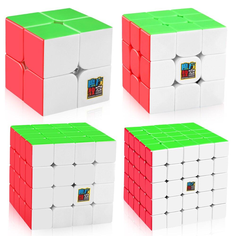 D-FantiX Moyu Mofangjiaoshi Vitesse Cube Ensemble MF2S 2x2 MF3S 3x3 MF4S 4x4 MF5S 5x5 Magique puzzle de cubes Stickerless 4 pièces Jouets