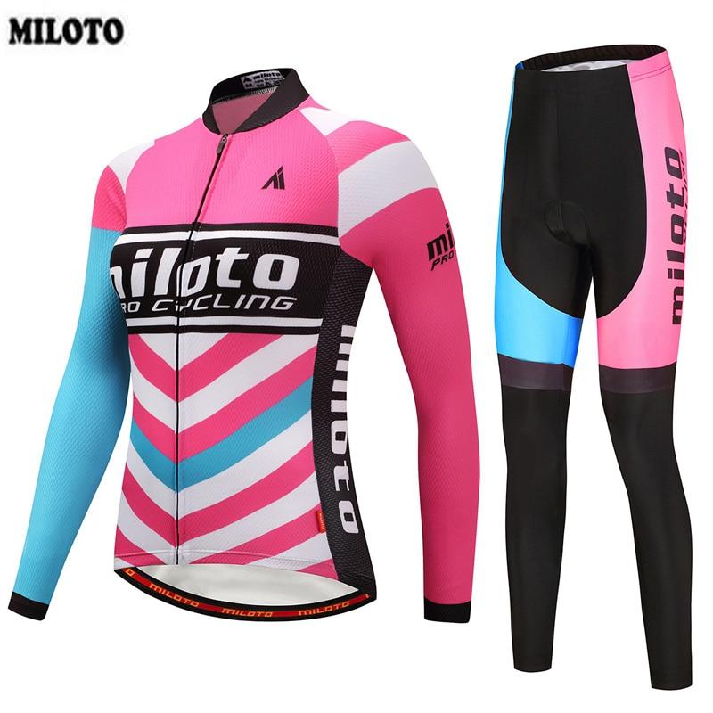 MILOTO チーム Ropa Ciclismo 女性のプロサイクリングジャージ長袖秋サイクリングスポーツ服バイクよだれかけパンツセット S 4XL  グループ上の スポーツ & エンターテイメント からの サイクリングセット の中 1