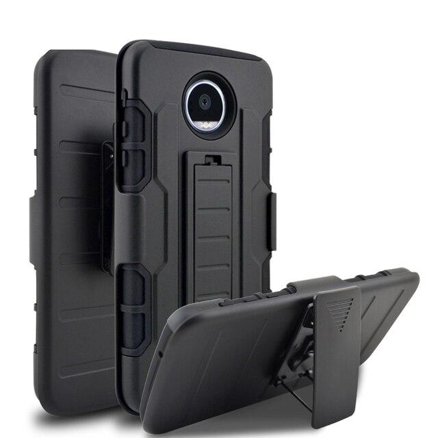 3 In 1 Hybrid Holder Military Style Rugged Skin Armor Phone Back Cover Case For Motorola