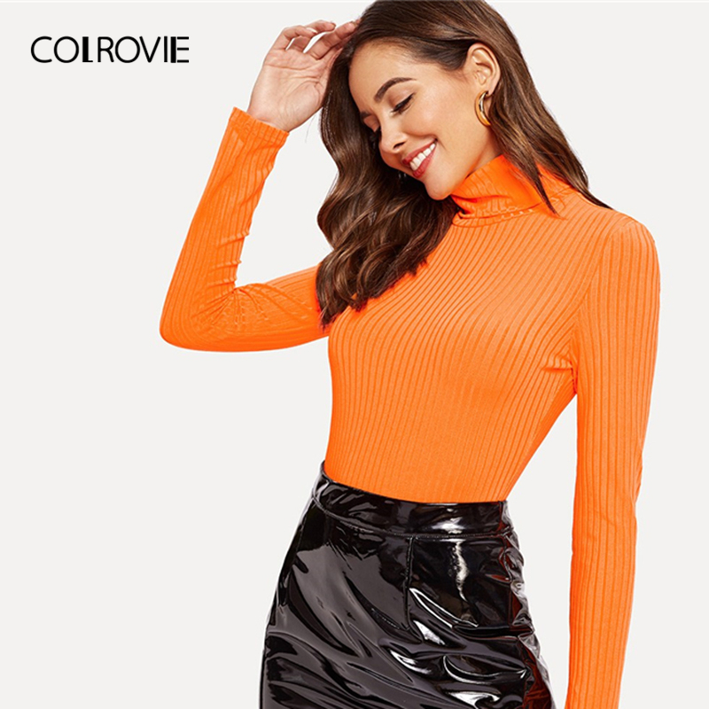 COLROVIE Orange Solid Turtleneck Rib Knit Form Fitted Elegant   T     Shirt   Women 2019 Spring Long Sleeve   Shirt   Slim Fit Sexy Tee