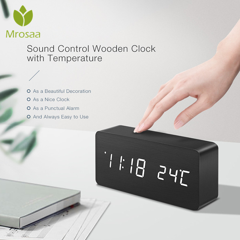 LED Wooden Alarm Clock Watch Table Voice Control Digital Wood Despertador Electronic Desktop USB/AAA Powered Clocks Table Decor image