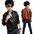 Boys PU jacket fur lining thick children jacket winter coat kids toddler outerwear faux leather 100-170cm