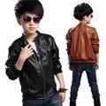 Meninos jaqueta pu fur lining jaqueta crianças grossas crianças casaco de inverno criança outerwear de couro falso 100-170 cm