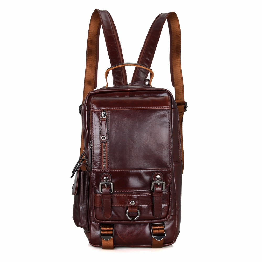 J.M.D 100% Genuine Leather Women Daily Backpack School Bag Travel Multifunction Rucksack For Men 2002C